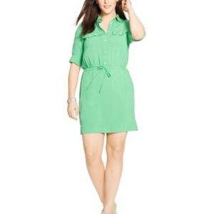 Ralph Lauren 20W Mini Shirt Dress Green Drawstring
